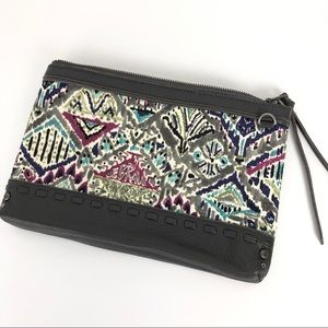 SAKROOTS Clutch Grey Leather and Canvas